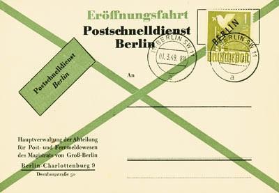 Berlin FDC Mi-Nr. 17 / Schw.-aufdruck Eröffnung Postschnelldienst Berlin