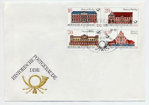 DDR FDC MiNr. 3067/70 Zdr. Histor. Postgebäude