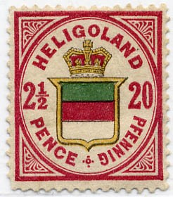 Helgoland MiNr. 18a * 20Pf/2 1/2 P lilakarm./gelb/blaugrün