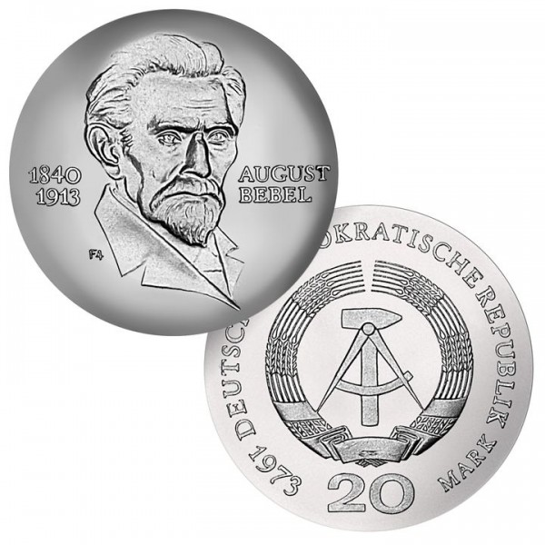 DDR Münze 1973, 20 M, st 60. Todestag August Bebel