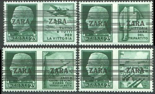 Dt. Besetzung Zara MiNr. 35 I-IV ** FM Italien m.Propagandaaufdr.+Nebenfeld (4 W.)