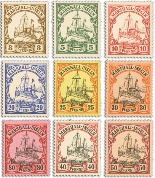 Dt. Kolonien Marshall-Inseln MiNr. 13/21 ** FM: Kaiseryacht - nur Pf-Werte (Kurzsatz)