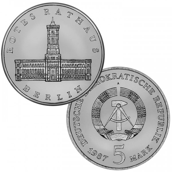 DDR Münze 1987, 5 M, st 750 Jahre Berlin Rotes Rathaus