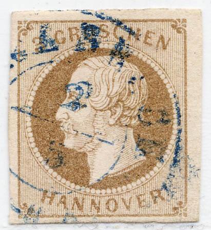 Hannover MiNr. 19a o 3 Groschen / mittelbraun / geschnitten