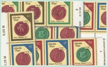 DDR Zdr.-Kombinat. MiNr. 3156/59 ** Historische Siegel II (WZd 733-740,SZd 351-358)