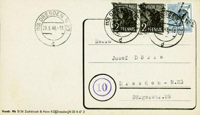 SBZ Allg.A. Ortsbrief mit Bezirksstempel-Marken