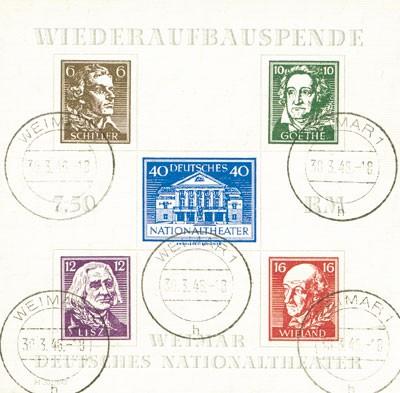 SBZ Thür. Bl. 3 AX o MiNr. 107/11AX Nationaltheater Weimar