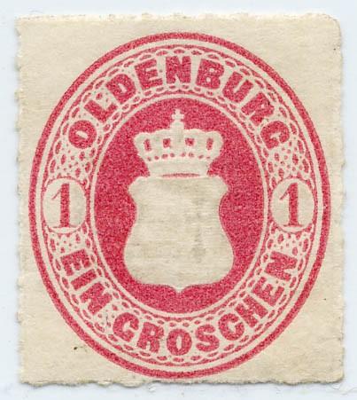 Oldenburg MiNr. 17B * 1 Groschen karmin