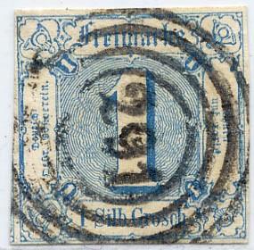 Thurn & Taxis MiNr. 15 o 1 Gr., preußischblau, geschnitten