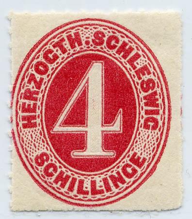 Schleswig-Holstein MiNr. 3 ** 4 Schilling - karminrot