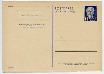 DDR Ganzsache P 51/01 * 12/12Pf (III/18/104) Wilhelm Pieck I