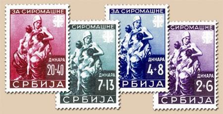 Dt. Besetzung Serbien MiNr. 82-85 ** Für die Armen (4 Werte)