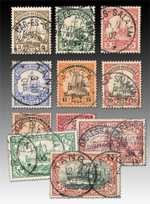"""Dt. Kolonien Ostafrika MiNr. 11/21 o """"Kaiseryacht"""", 3 teure Werte gepr."""