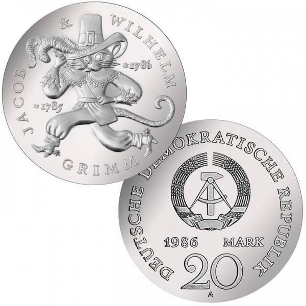 DDR Münze 1986, 20 M, st 200. Geburtstag Gebrüder Grimm