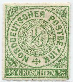 Norddeutscher Postbezirk MiNr. 2 * 1/3 Groschen / gelblichgrün