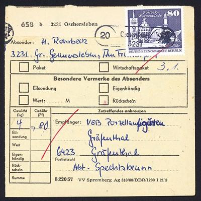 DDR Paketkarte mit MiNr. 1920 80Pf Aufbau i.d. DDR: Rostock-Warnemünde