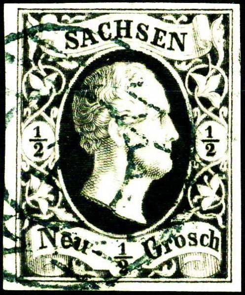 Sachsen MiNr. 3a o 1/2 Ngr. /Friedrich August II / grau