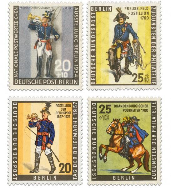 Berlin Die Berliner Postillione, 4 Marken ** Tag der Briefm. MiNr. 120, 131, 158, 176
