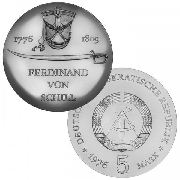 DDR Münze 1976, 5 M, st 200. Geburtstag F. von Schill