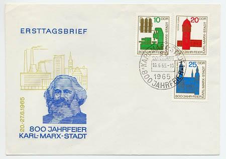 DDR FDC MiNr. 1117/19 800 J. K. -Marx-Stadt  (Chemnitz)