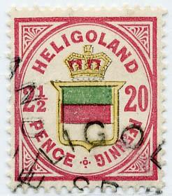 Helgoland MiNr. 18a o 20Pf/2 1/2 P lilakarm./gelb/blaugrün