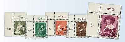 "DDR MiNr. 693/97 Gemälde III, Abart o Eckrandsatz, Fehler im Summenzähler ""2,"""