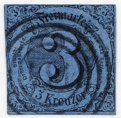 Thurn & Taxis MiNr. 8 o 3 Kr., schw.auf preußischblau, geschnitten