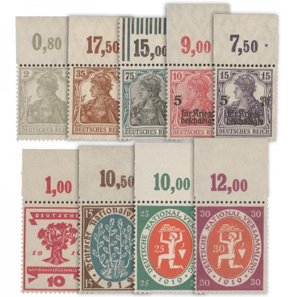 Dt. Reich MiNr. 102-110 OR ** 9 Werte Erstausgaben Weimarer Rep. mit Oberrand