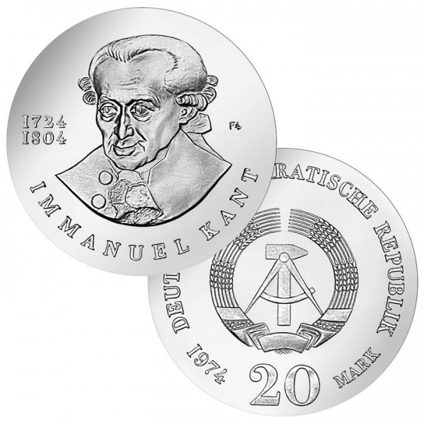 DDR Münze 1974, 20 M, PP 250. Geburtstag Immanuel Kant