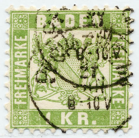 Baden MiNr. 23 o 1 Kreuzer / hellgrün / Währung -gek.
