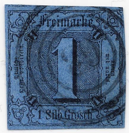 Thurn & Taxis MiNr. 4 o 1 Gr., schw.auf preußischblau, geschnitten