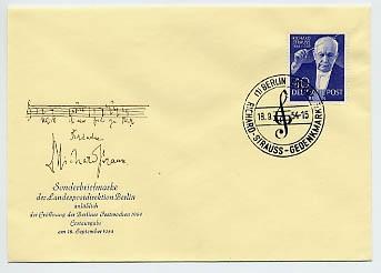Berlin FDC Mi-Nr. 124 5. Todestag R. Strauss