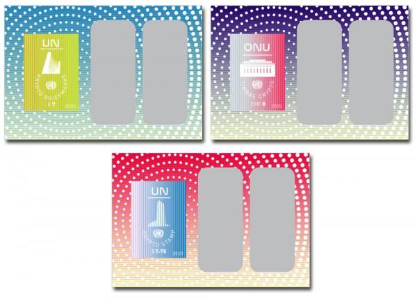 UNO New York, Genf, Wien 3 Krypto-Briefmarken 2020 **