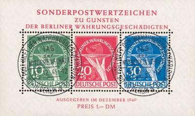 Berlin MiNr. 68/70 Bl. 1 o Für Berliner Währungsgeschädigte