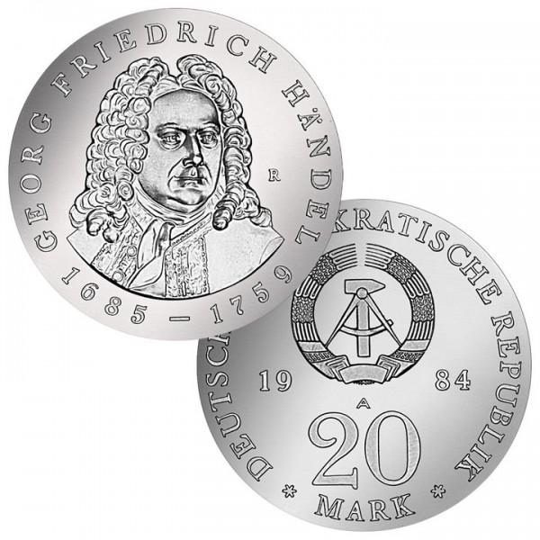 DDR Münze 1984, 20 M, st 225. Todestag Georg F. Händel