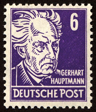 """SBZ Allg.A. MiNr. 213 bx ** gepr. Farbe """"b"""" 6 Pf G. Hauptmann"""