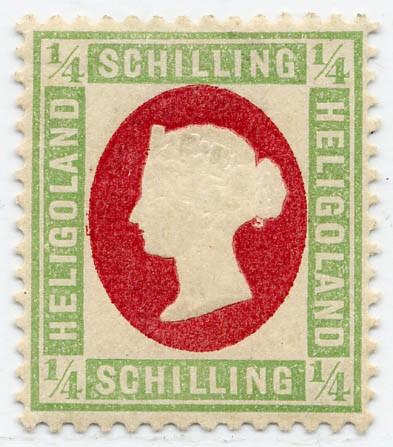 Helgoland MiNr. 8F * 1/4 Schilling grün / karmin