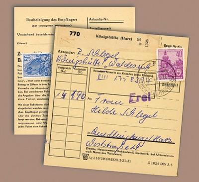 DDR Paketkarte mit Fünfjahrplan-Freimachung