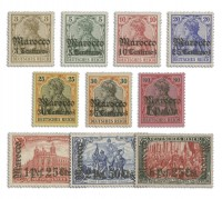 Dt. Post in Marokko MiNr. 34/45 ** Komplettsatz, 12 Werte, mit Foto-Attest