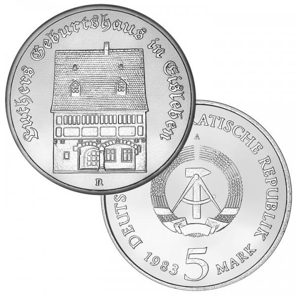 DDR Münze 1983, 5 M, PP Luthers Geburtshaus