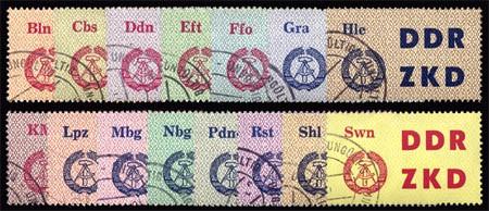 DDR Dienstmarken C MiNr. 1-15 U o Laufkontrollzettel für die Volkspolizei, 15 Werte