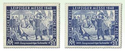 SBZ Allg.A. MiNr. 199bx ** gepr., + 199a ** Leipziger Herbstmesse 1948
