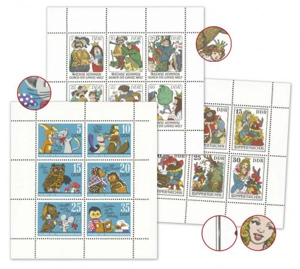 DDR 3 Kleinbogen mit Plattenfehler ** Mi-Nr. 1807/12, 2187/92, 2281/86