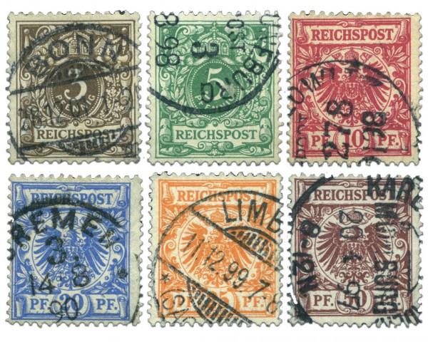 Dt. Reich MiNr. 45/50 o Freimarken Krone/Adler
