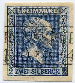 Preußen MiNr. 11b o 2 Sgr dkl.blau/ geschnitt/gegitt