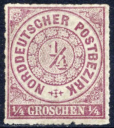 Norddeutscher Postbezirk MiNr. 1a * 1/4 Groschen / braunviolett