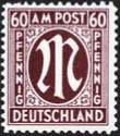 """Bizone MiNr. 33 a A ** Farbe """"a"""" FM: Am-Post """"M"""" im Oval = deutscher Druck"""