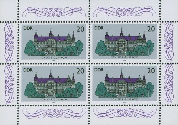 DDR Kleinbogen MiNr. 3033 ** Schloß Güstrow, mit Plattenfehler