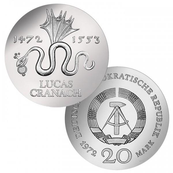 DDR Münze 1972, 20 M, st 500. Geburtstag Lucas Cranach
