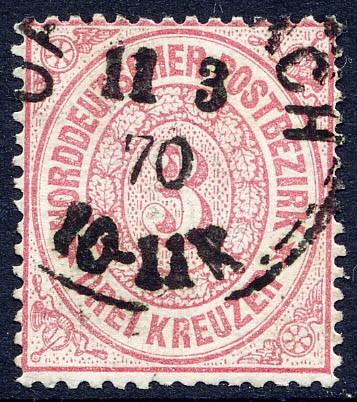 Norddeutscher Postbezirk MiNr. 21 o 3 Kreuzer / karmin